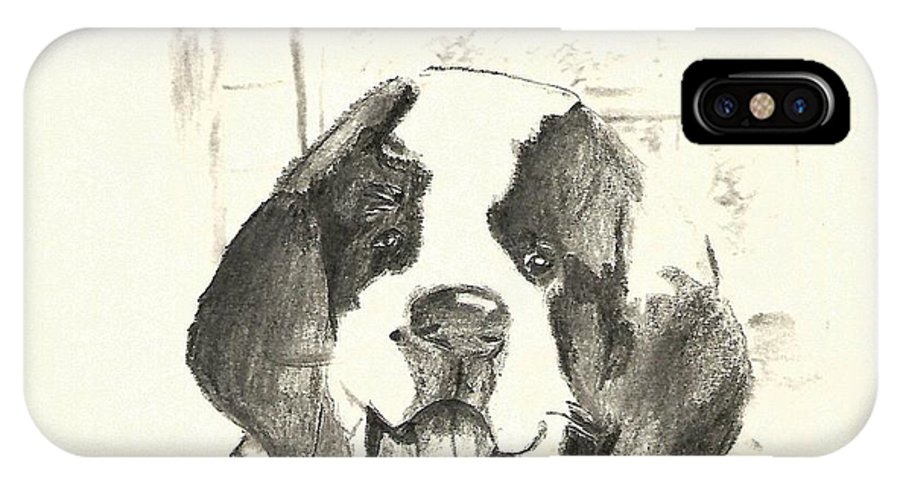 St. Bernard IPhone X Case featuring the drawing St. Bernard Puppy by Crystal Webb