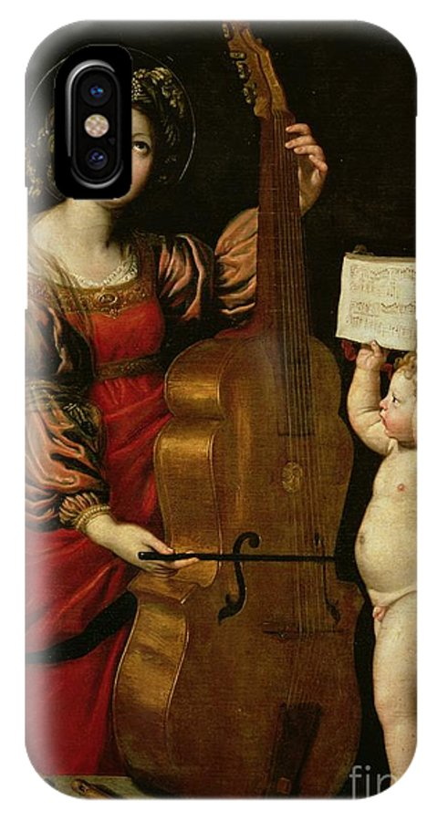 St. Cecilia With An Angel Holding A Musical Score IPhone X Case featuring the painting St. Cecilia With An Angel Holding A Musical Score by Domenichino