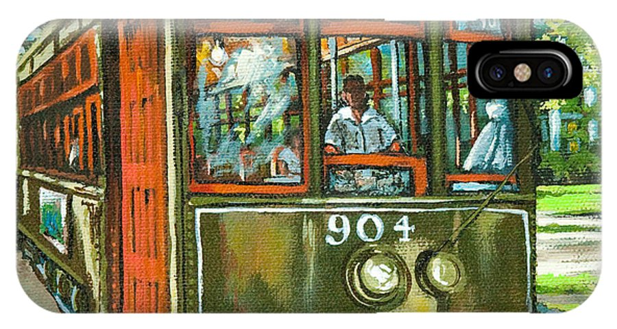 Streetcar IPhone X Case featuring the painting St. Charles No. 904 by Dianne Parks