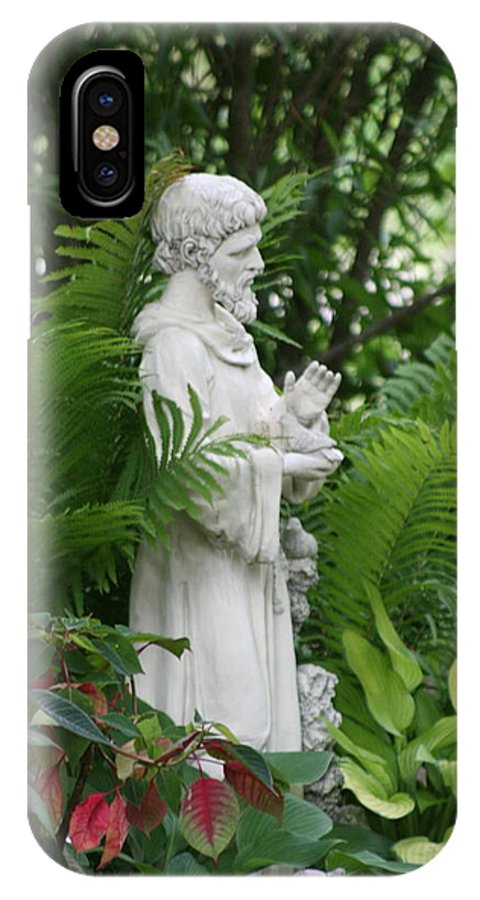 Religious IPhone X Case featuring the photograph St. Francis In The Garden by Diane Merkle