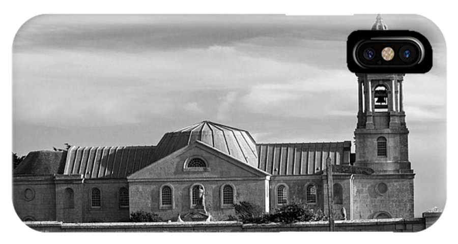 Church St Georges Isle Of Portland Stone Quarried Black And White Dorset Bell Tower Dome IPhone X Case featuring the photograph St Georges Church Portland by Jeff Townsend