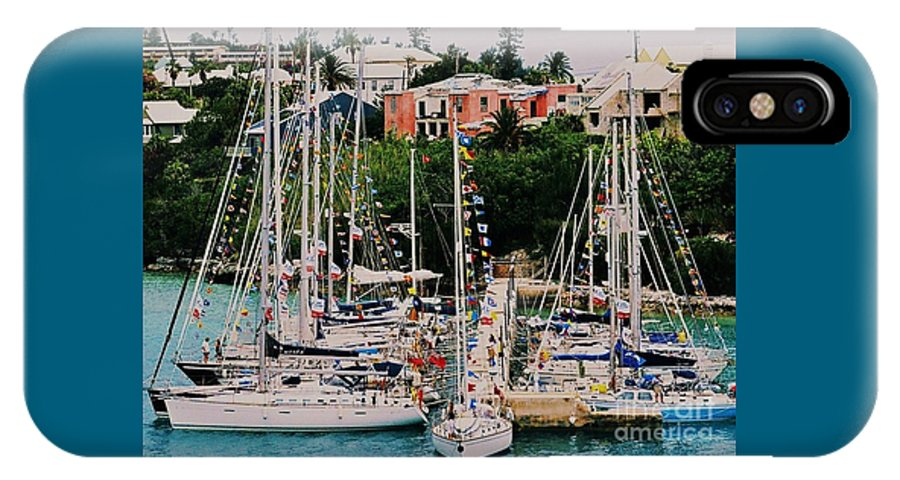 Bermuda Travel Yacht St. George's Nautical Film Flags Boat Pier Forest Of Masts Whimsical Destination Tourism Tranquil Buildings Hurricane Damage Architecture Symmetry Greenery Water Poster Print Metal Frame Canvas Print Greeting Cards Available On Throw Pillows Mugs Spiral Notebooks T Shirts Shower Curtains Pouches Phone Cases And Weekender Tote Bags IPhone X Case featuring the photograph St. George's Yacht Club Bermuda by Poet's Eye