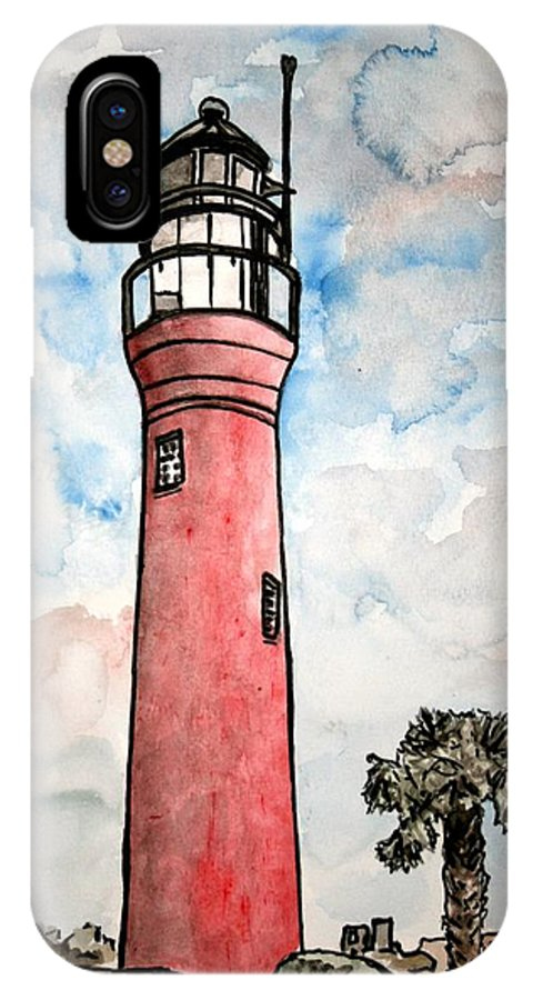 Lighthouse IPhone X Case featuring the painting St Johns River Lighthouse Florida by Derek Mccrea