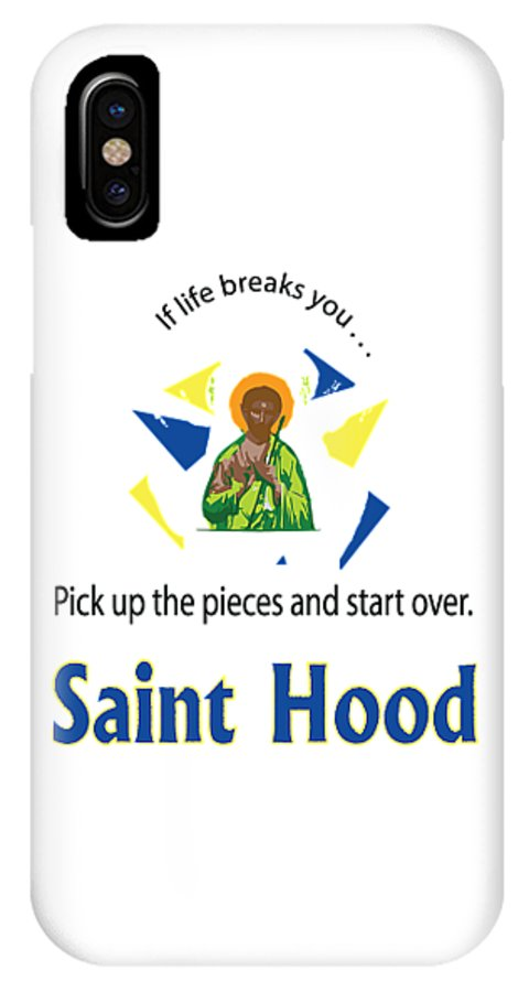 Saint Hood IPhone X Case featuring the digital art St. Jude by Christopher Johnson