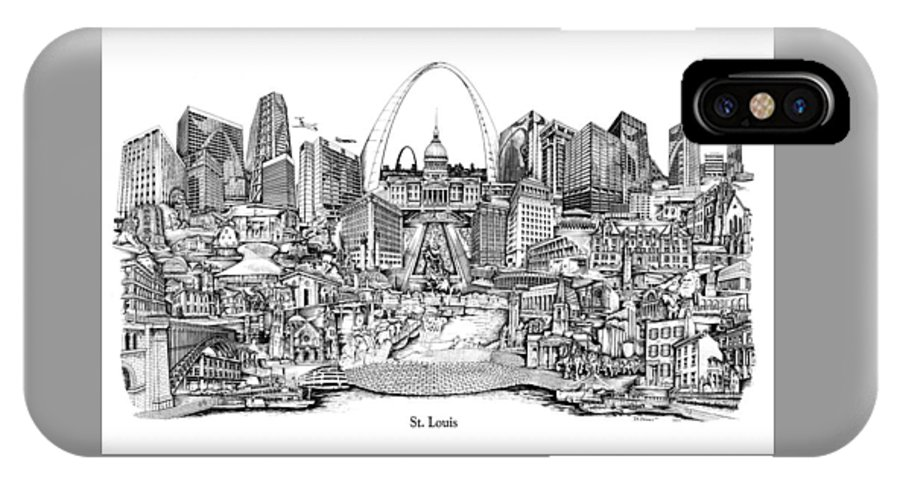 City Drawing IPhone X Case featuring the drawing St. Louis 4 by Dennis Bivens