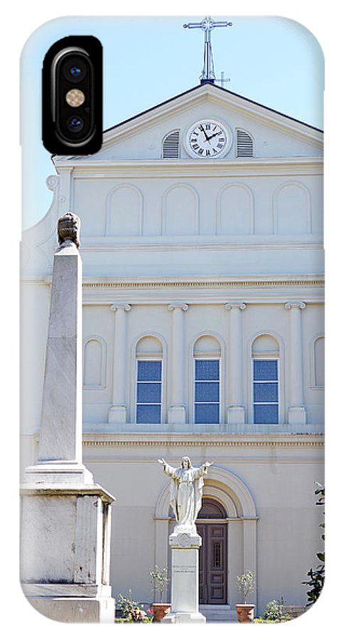 St. Louis Cathedral IPhone X Case featuring the photograph St. Louis Cathedral Back Lawn by Robert Meyers-Lussier