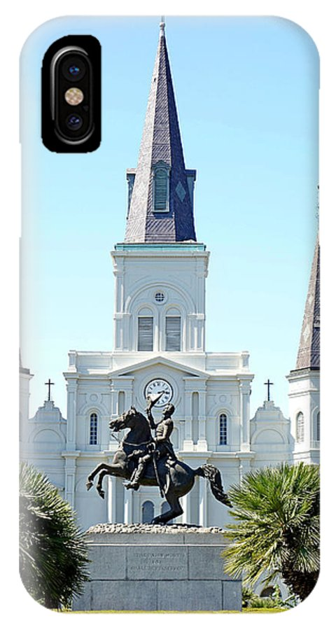 St. Louis Cathedral IPhone X Case featuring the photograph St. Louis Cathedral From Jackson Square by Robert Meyers-Lussier