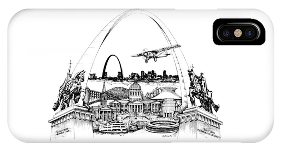 City Drawing IPhone X / XS Case featuring the drawing St. Louis Highlights Version 1 by Dennis Bivens