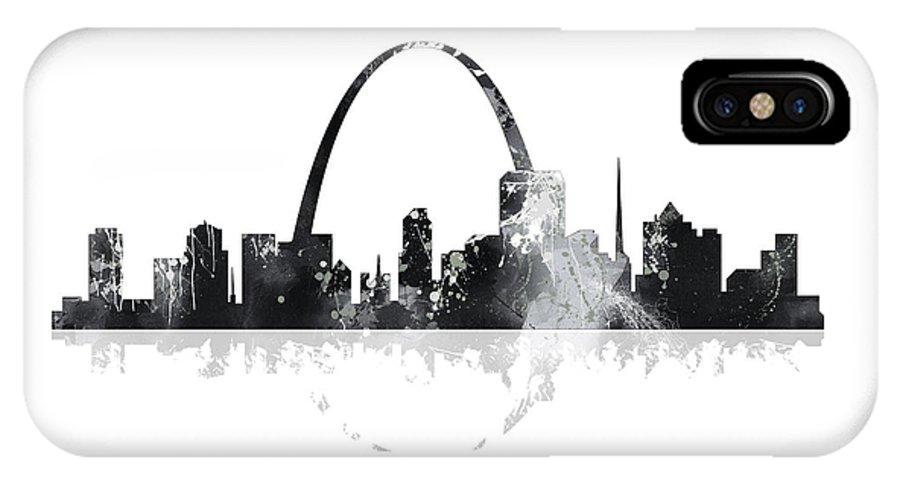 St Louis Missouri Skyline IPhone X Case featuring the digital art St Louis Missouri Skyline by Marlene Watson