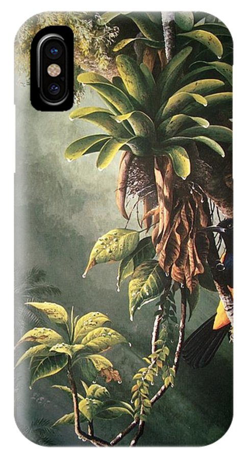 Chris Cox IPhone Case featuring the painting St. Lucia Oriole In Bromeliads by Christopher Cox