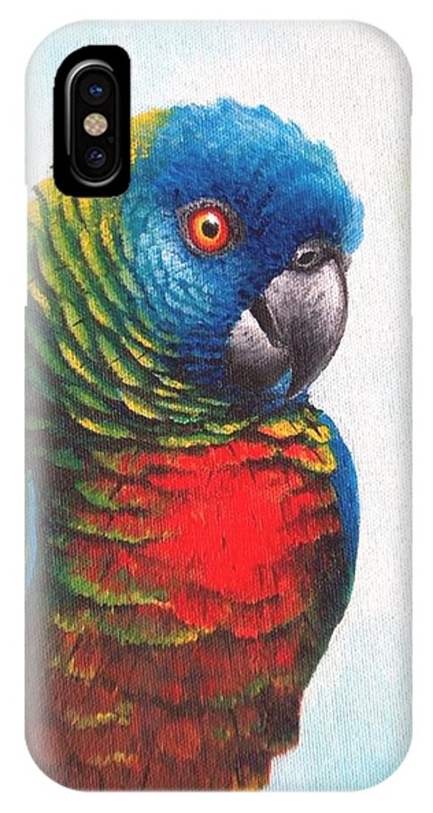 Chris Cox IPhone Case featuring the painting St. Lucia Parrot by Christopher Cox