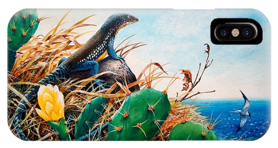 Chris Cox IPhone X Case featuring the painting St. Lucia Whiptail by Christopher Cox