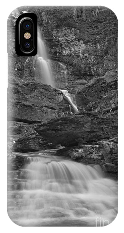 Black And White IPhone X Case featuring the photograph St Mary Triple Cascades - Black And White by Adam Jewell