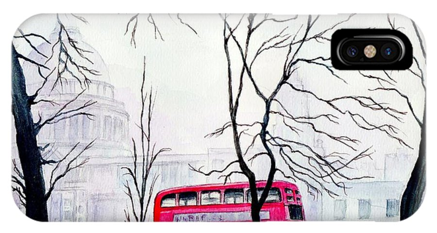 St Pauls IPhone X Case featuring the painting St Pauls Cathedral In The Mist by Morgan Fitzsimons