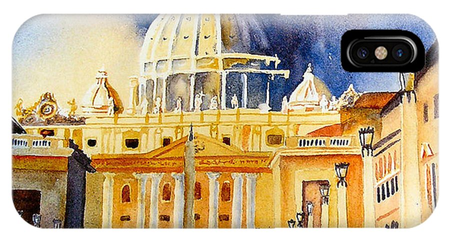 Vatican IPhone X Case featuring the painting St. Peters Basilica by Karen Stark