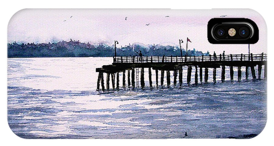 Fishing IPhone X / XS Case featuring the painting St. Simons Island Fishing Pier by Sam Sidders