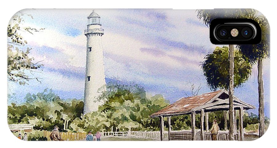 Lighthouse IPhone X Case featuring the painting St. Simons Island Lighthouse by Sam Sidders
