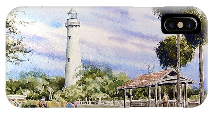 Lighthouse IPhone X / XS Case featuring the painting St. Simons Island Lighthouse by Sam Sidders