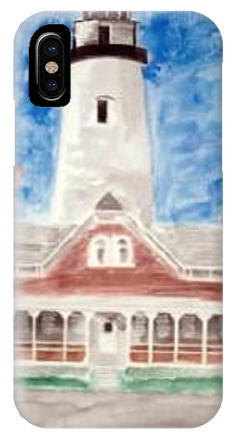Watercolor Landscape Lighthouse Seascape Painting IPhone X Case featuring the painting St Simons Lighthouse Nautical Painting Print by Derek Mccrea