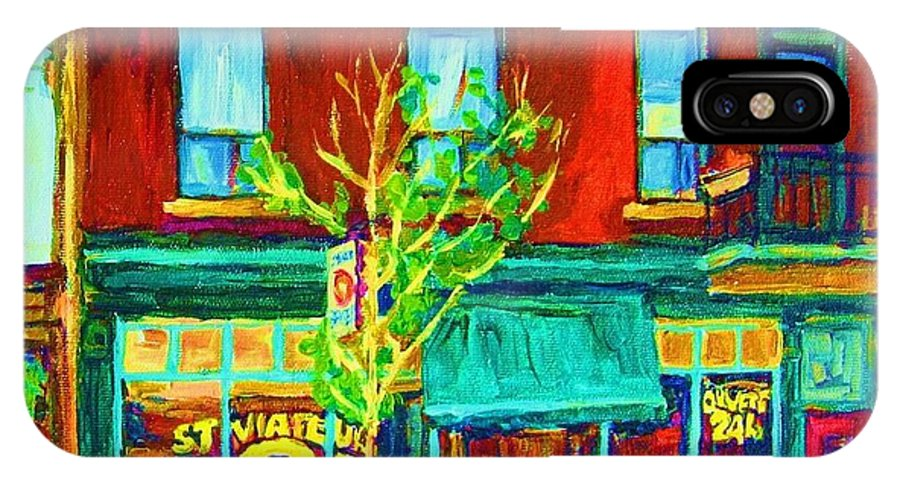 St. Viateur Bagel Shop IPhone X Case featuring the painting St Viateur Bagel Shop by Carole Spandau