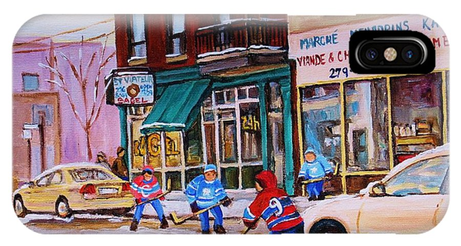 Montreal IPhone X Case featuring the painting St. Viateur Bagel with boys playing hockey by Carole Spandau