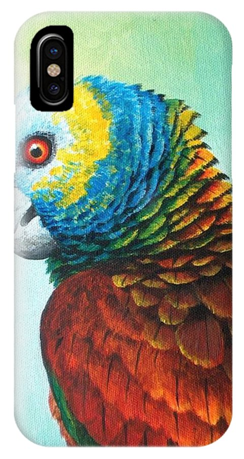 Chris Cox IPhone X Case featuring the painting St. Vincent Parrot by Christopher Cox