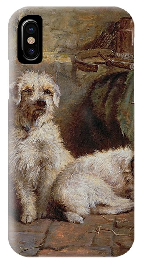 Dogs; Terriers; Tools; Stable; Basket; Spade; Lantern; Bottle; Horseshoe IPhone X Case featuring the painting Stablemates by John Fitz Marshall