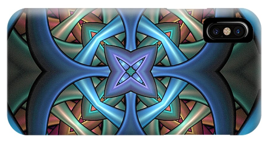 Digital Art IPhone X / XS Case featuring the digital art Stacked Kaleidoscope by Amanda Moore