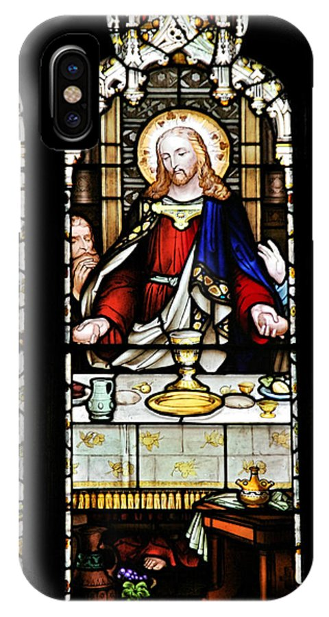 Stained IPhone X Case featuring the photograph Stained Glass Window Last Supper Saint Giles Cathedral Edinburgh Scotland by Christine Till