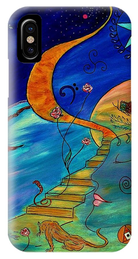 Symbolic IPhone X Case featuring the painting Stairway To Nirvana by Robin Monroe
