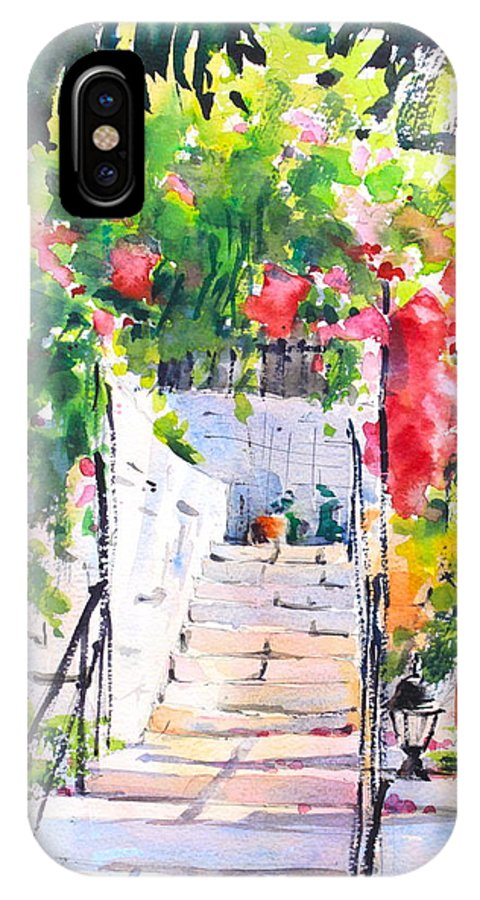 Stairway IPhone X Case featuring the painting Stairway To Paradise by Ibolya Taligas