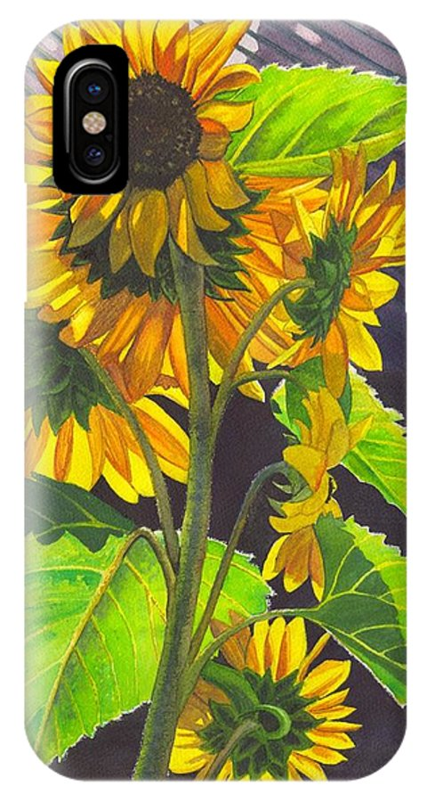 Sunflowers IPhone X Case featuring the painting Stalk Of Sunflowers by Catherine G McElroy
