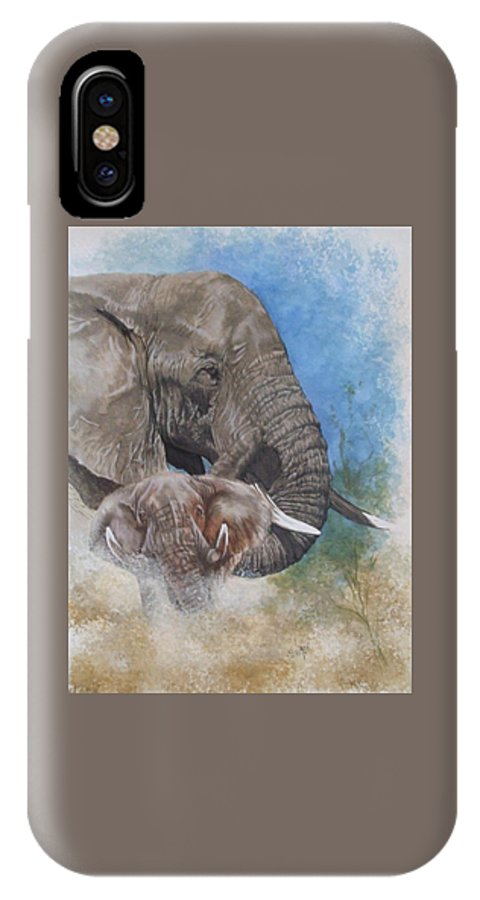 Elephant IPhone X Case featuring the mixed media Stalwart by Barbara Keith