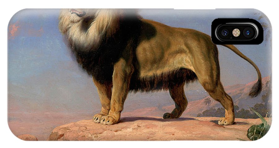 Standing Lion IPhone X Case featuring the painting Standing Lion by Charles Christian Nahl