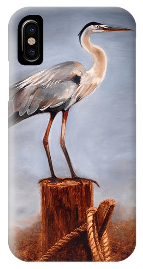 Heron IPhone Case featuring the painting Standing Watch by Greg Neal