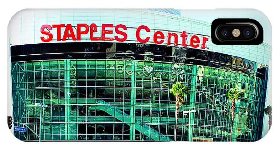 Downtown Los Angeles IPhone X Case featuring the photograph Staples Center Color by Ariane Moshayedi