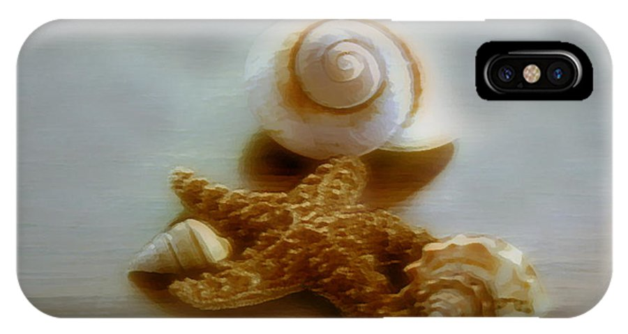 Beach Art IPhone Case featuring the photograph Star And Shells by Linda Sannuti