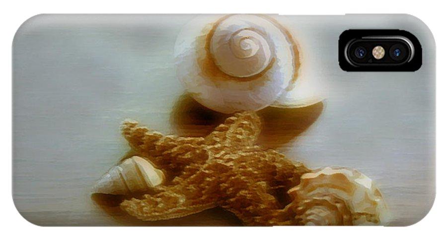 Beach Art IPhone X Case featuring the photograph Star And Shells by Linda Sannuti