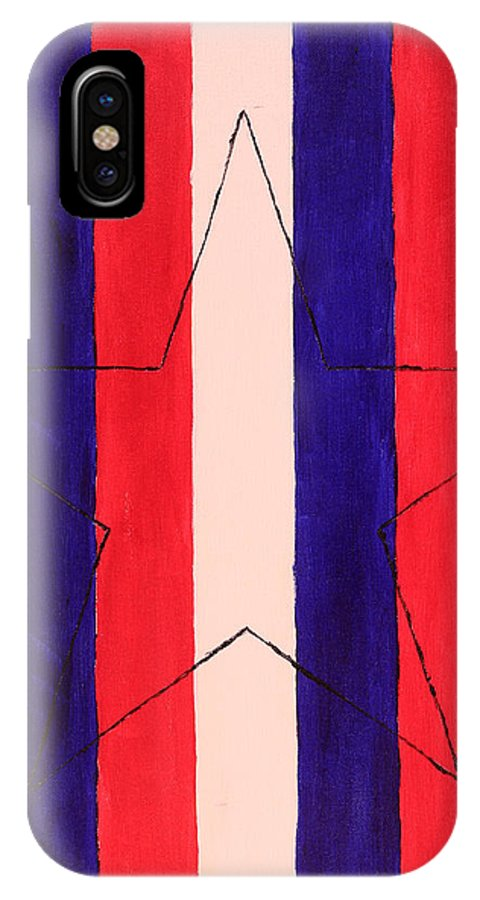 Star IPhone X Case featuring the painting Star And Stripes by David Stasiak