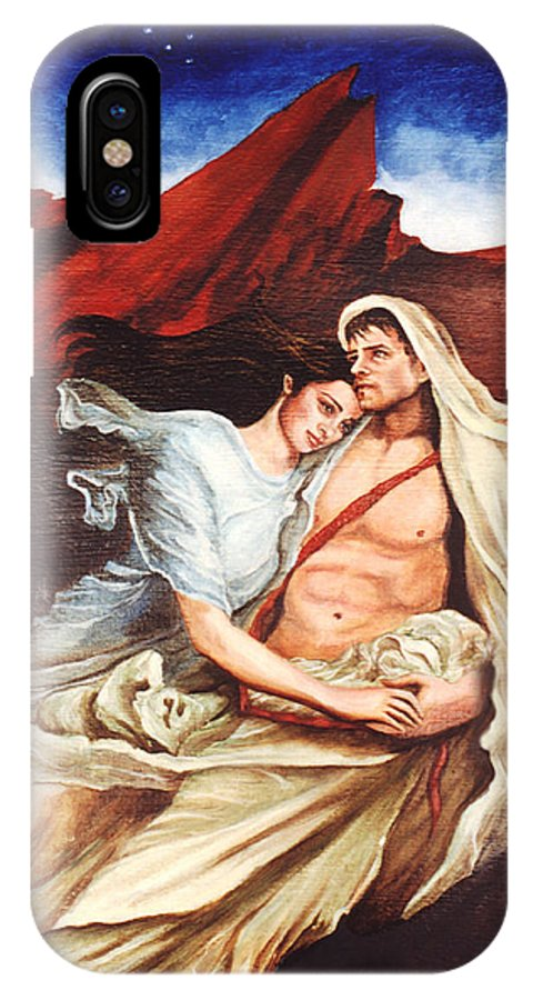 Portrait IPhone X Case featuring the painting Star Crossed Lovers by Teresa Carter
