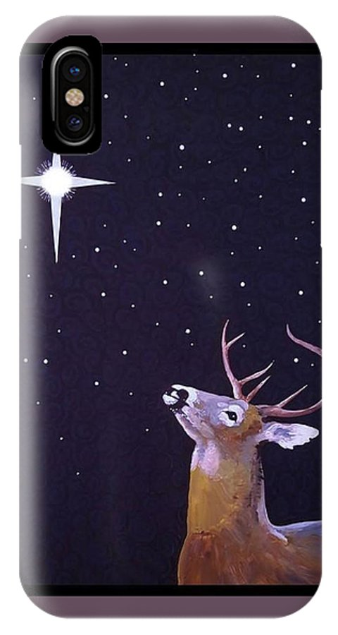 Star IPhone X Case featuring the painting Star Gazer by Jim Harris