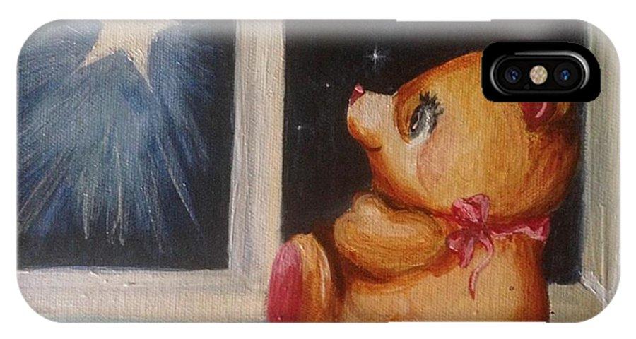 Teddy Bear IPhone X Case featuring the painting Star Light Bear by Karen Ferrand Carroll