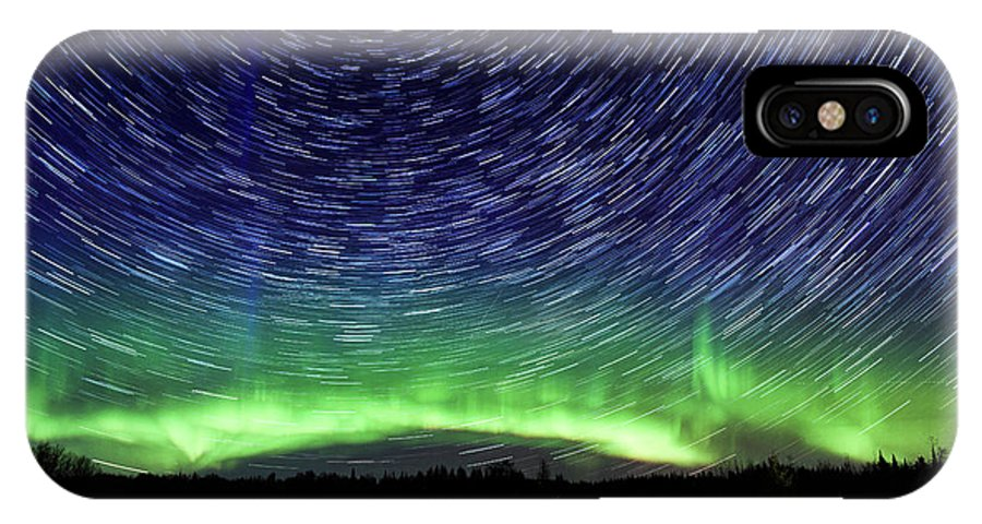 Northern Lights IPhone X Case featuring the photograph Star Trails And Aurora by Linda Ryma