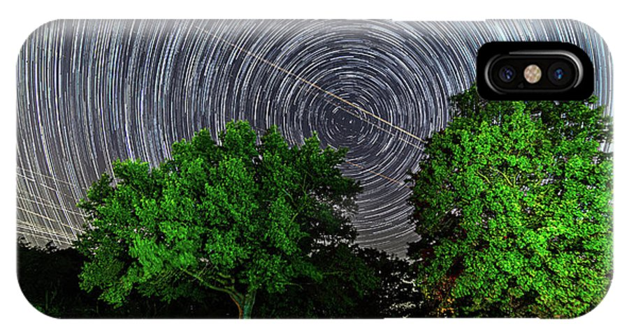 Astronomy IPhone X Case featuring the photograph Star Trails At Sunken Meadow State Park by Justin Starr