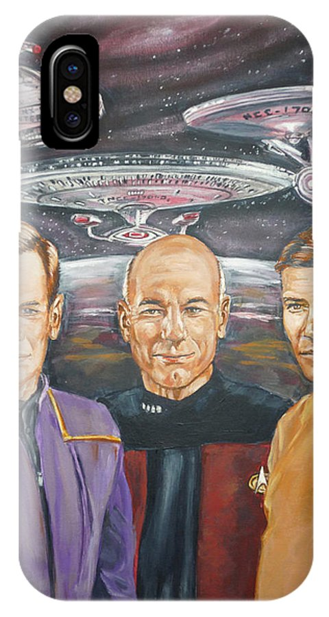Star Trek IPhone X Case featuring the painting Star Trek Tribute Enterprise Captains by Bryan Bustard