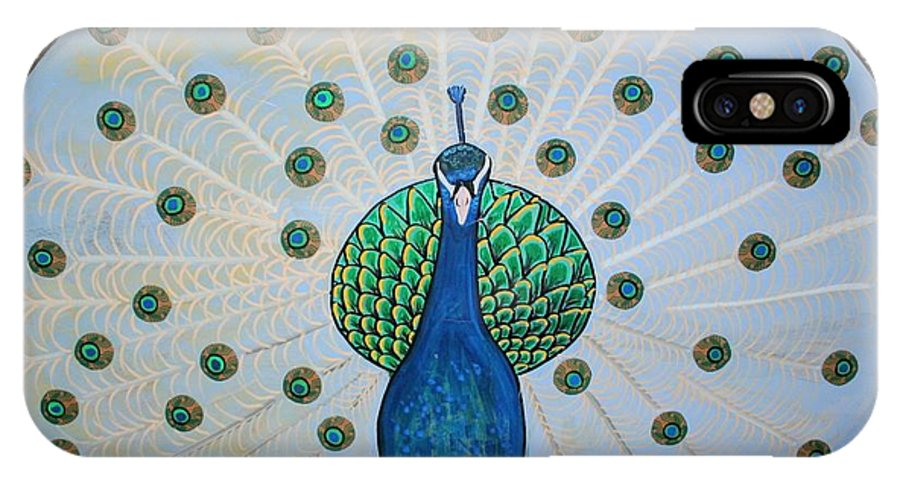 Peacock IPhone X Case featuring the painting Starbucks Peacock by Rick Cheadle
