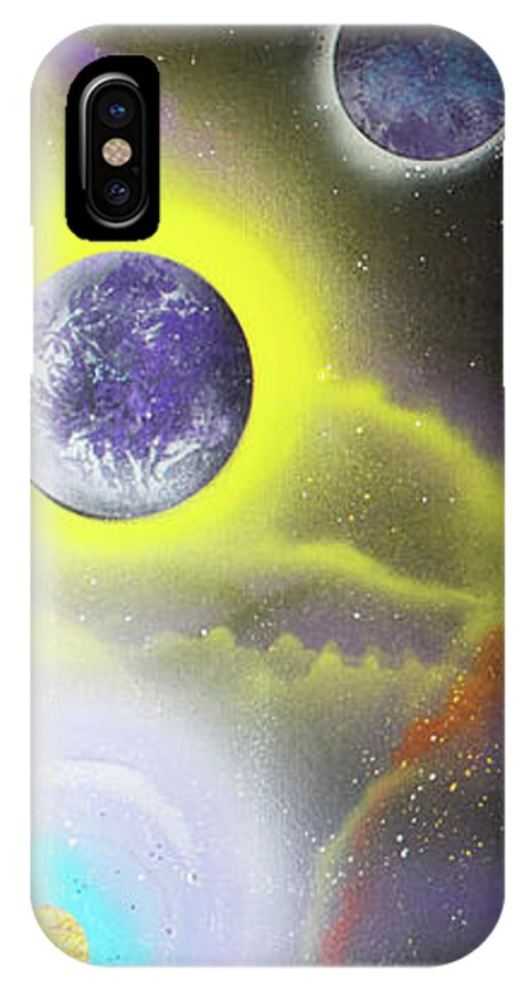 Abstract IPhone X Case featuring the painting Starfire Galaxy by Laura Barbosa