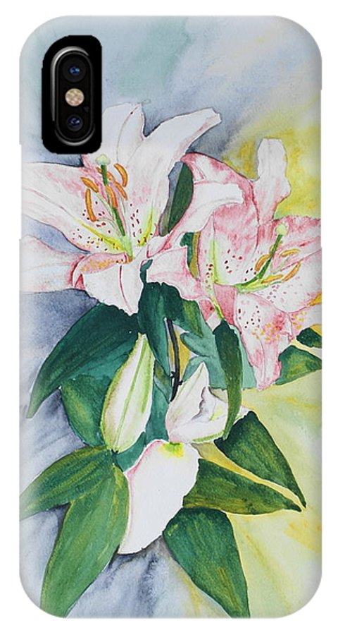 Lilies IPhone X Case featuring the painting Stargazers by Frank Hamilton