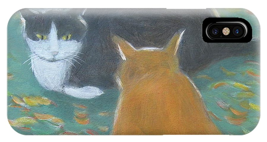Cat IPhone X Case featuring the painting Staring Contest by Kazumi Whitemoon
