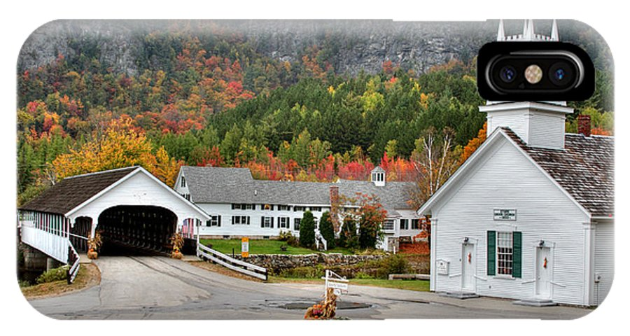 New Hampshire IPhone X Case featuring the photograph Stark Covered Bridge And Village by Brett Pelletier